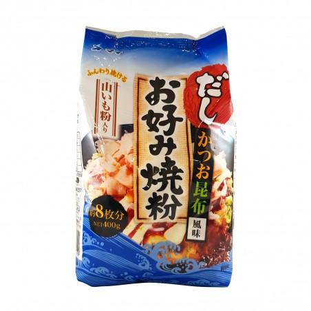 Pour la farine à okonomiyaki avec l'igname, le blé, la bonite, le varech - 400 gr Ohmai CJW-42349467 - www.domechan.com - Nou...
