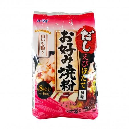 La harina para el okonomiyaki con ñame, langostinos, vieiras - 400 g Ohmai CHY-58535964 - www.domechan.com - Comida japonesa