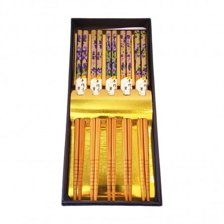 Set of 5 chopsticks, japanese-style wood - Type Wisteria Uniontrade XMB-33893263 - www.domechan.com - Japanese Food