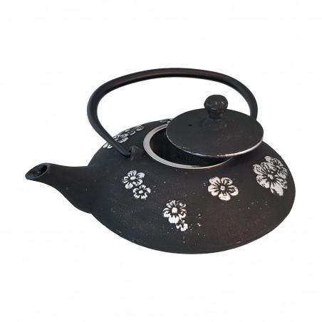 Teekanne aus gusseisen, schwarz, mit blumen, silber Uniontrade YEY-72597667 - www.domechan.com - Japanisches Essen