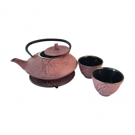 Teapot cast iron violet with two cups Uniontrade YFW-47768935 - www.domechan.com - Japanese Food
