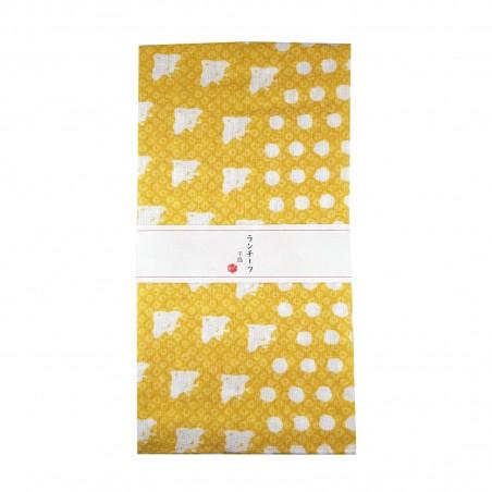 Furoshiki - Type giallo con bird e pois bianchi (54x54 cm) Domechan YQW-84357242 - www.domechan.com - Prodotti Alimentari Gia...