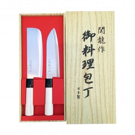 Set knives, japanese seki ryu santoku-nakiri - 2 pcs Seki Ryu CIQ-19302736 - www.domechan.com - Japanese Food