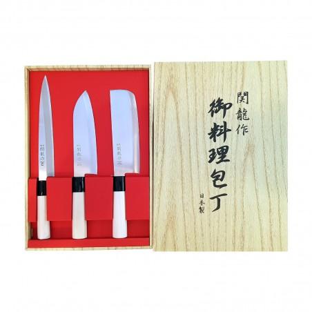 セットナイフ、日本の関龍刺身-三徳-波切-3pcs Seki Ryu HIS-53098051 - www.domechan.com - Nipponshoku