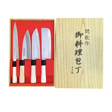 Set knives, japanese seki ryu sashimi-deba-santoku-nakiri - 4 pcs Seki Ryu JAK-99362790 - www.domechan.com - Japanese Food