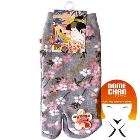 Tabi - gemusterte graue Flip-Flop-Socke Domechan ENY-62256849 - www.domechan.com - Japanisches Essen