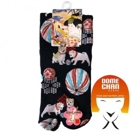 Tabi - patterned black flip flops sock Domechan EPS-66549722 - www.domechan.com - Japanese Food