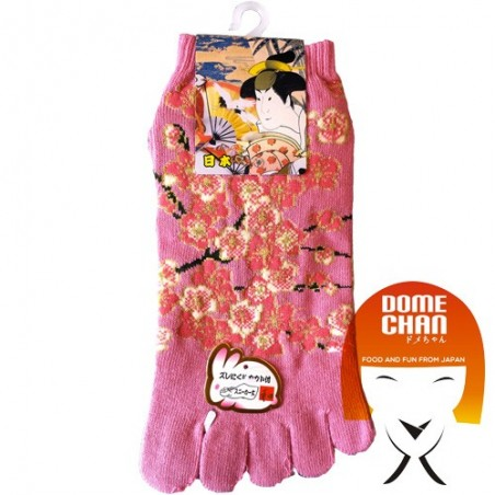 Tabi - patterned pink flip flops sock Domechan EQW-89637956 - www.domechan.com - Japanese Food