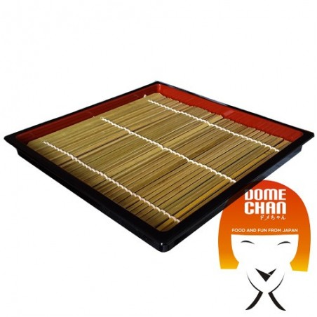 Square zaru plate with bamboo mat for soba - 19.5 cm Uniontrade EXW-59799778 - www.domechan.com - Japanese Food