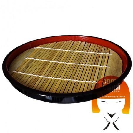 Round zaru plate with bamboo mat for soba - 21.5 cm Domechan KE-912U-9K3C - www.domechan.com - Japanese Food