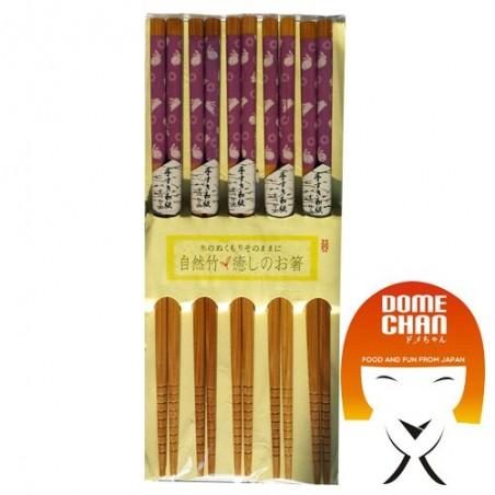 Set 5 bacchette in legno modello swirl e conigli Uniontrade HKW-87829574 - www.domechan.com - Prodotti Alimentari Giapponesi
