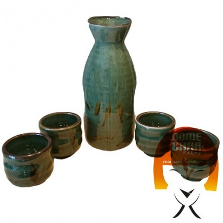 Glossy green sake set - 4 people Uniontrade BXA-69883258 - www.domechan.com - Japanese Food