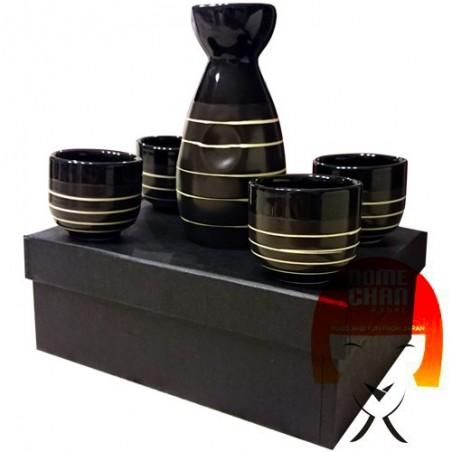 Set sake nero/bianco - 4 persone Uniontrade KGY-38484798 - www.domechan.com - Prodotti Alimentari Giapponesi
