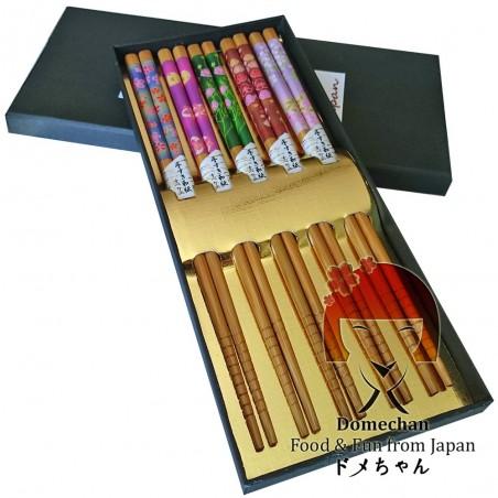 Set 5 bacchette stile giapponese in legno - Type Fiori Uniontrade DYW-93595769 - www.domechan.com - Prodotti Alimentari Giapp...