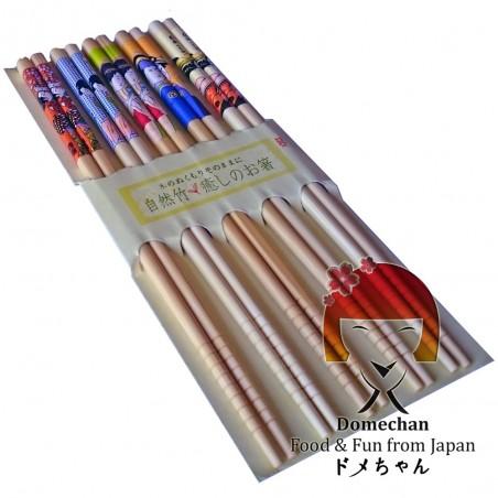 Set 5 Japanese style wooden chopsticks - Type Geisha II Domechan MMW-76396743 - www.domechan.com - Japanese Food
