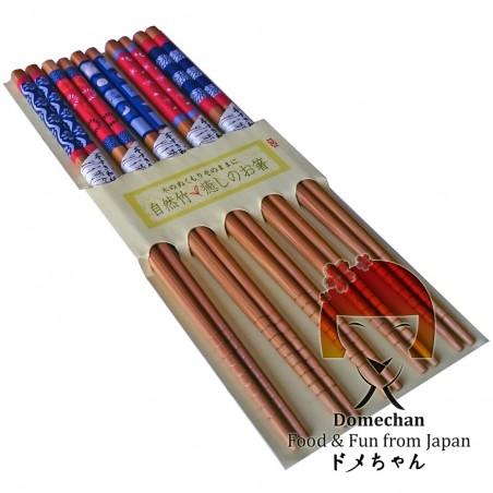 Set 5 Japanese style wooden chopsticks - Type Fiori II Domechan MNW-93338324 - www.domechan.com - Japanese Food