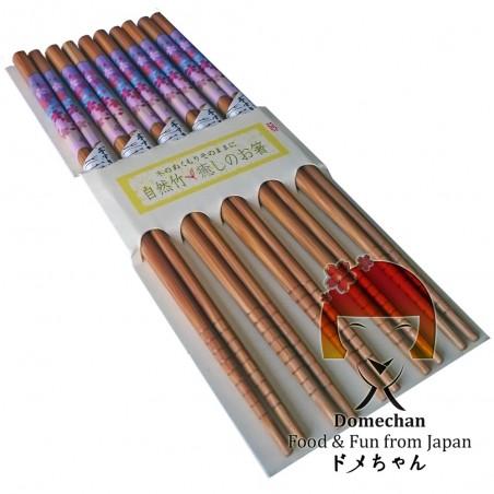Conjunto de 5 palillos, de estilo japonés de madera - Tipo de Sakura Domechan MNY-53466467 - www.domechan.com - Comida japonesa