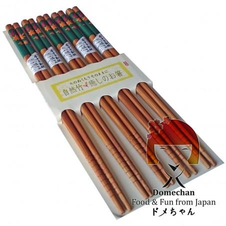 日本式の木箸5枚セット - 葉の種類 III Domechan MPA-75888723 - www.domechan.com - Nipponshoku