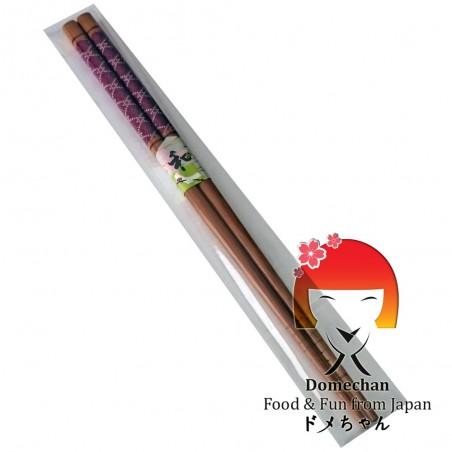Japanese chopsticks in wooden geometric - 22,6 cm Domechan NKY-83428393 - www.domechan.com - Japanese Food