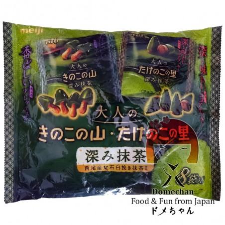 Matcha Kinoko / Takenoko Tea Meiji Biscuits - 116 g Domechan PKY-68384255 - www.domechan.com - Japanese Food