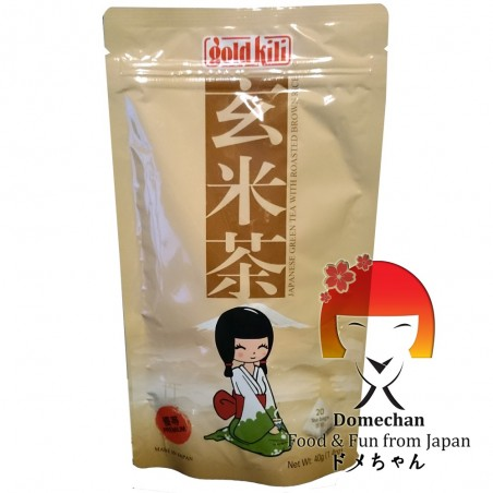 Green genmaicha tea with brown puffed rice in filters - 40 gr Domechan QNW-52446289 - www.domechan.com - Japanese Food