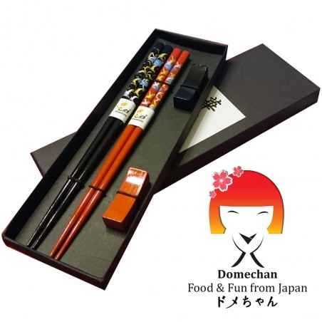 Set 2 Japanese style wooden chopsticks - Red Black Domechan QSY-29473224 - www.domechan.com - Japanese Food