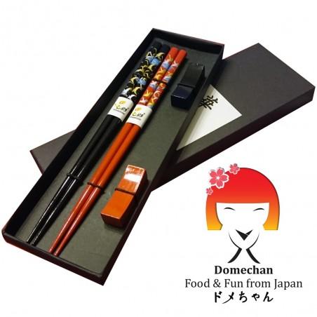 Set 2 japanischen Stil Holz Essstäbchen - rot schwarz Domechan QSY-29473224 - www.domechan.com - Japanisches Essen